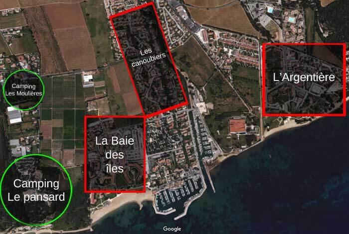Plan du quartier Port Miramar à la londe les maures